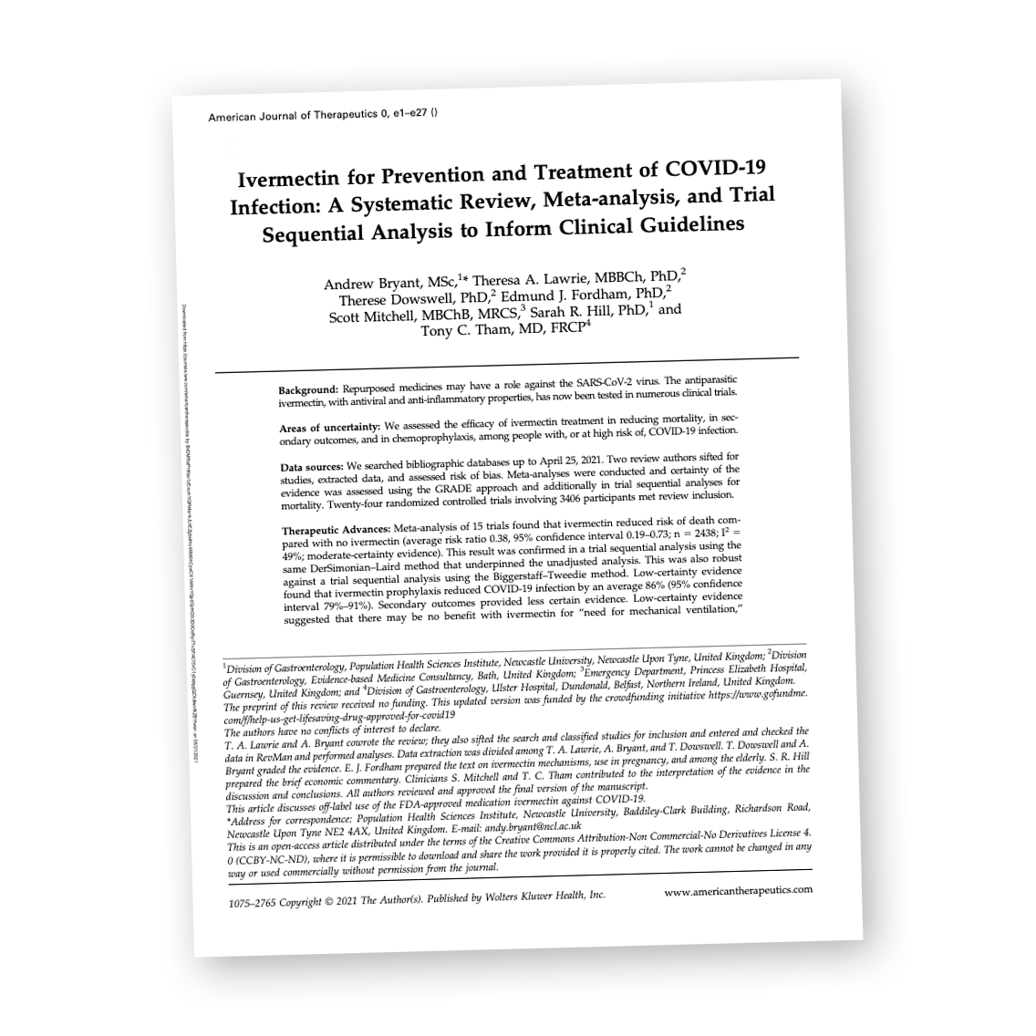 Read more about the article Official: Ivermectin Prevents and Treats Covid. Peer-Reviewed Analysis Published in the 'American Journal of Therapeutics'